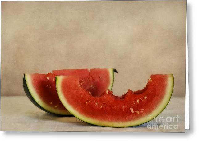 Food Still Life Greeting Cards - Three Bites Of Summer Greeting Card by Priska Wettstein