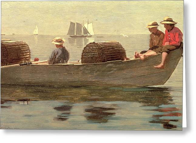 Boats In Water Greeting Cards - Three Boys in a Dory Greeting Card by Winslow Homer