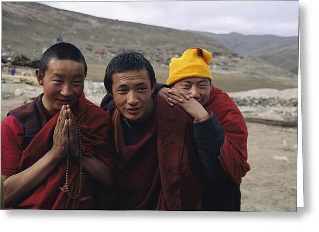 Three Buddhist Lamas In Gansu Province Greeting Card by David Edwards