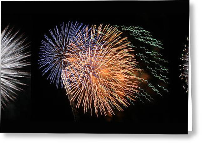 4th July Digital Greeting Cards - Three Bursts Of Fireworks Four July Two K Ten Greeting Card by Carl Deaville