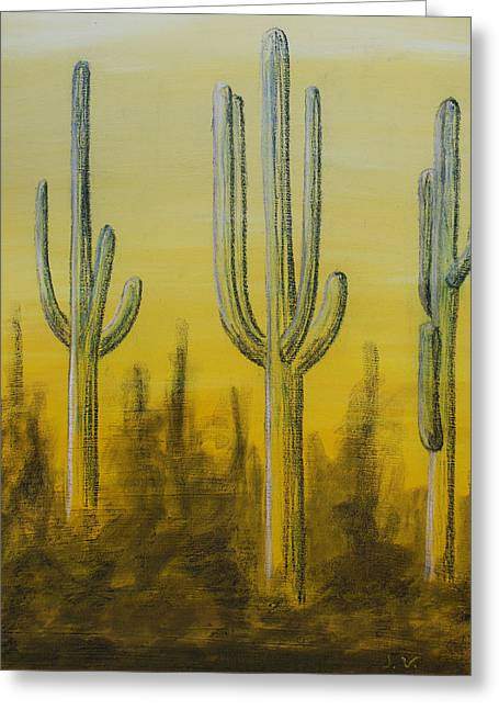 Acrylic Art Greeting Cards - Three Cactus Greeting Card by Jose Valeriano