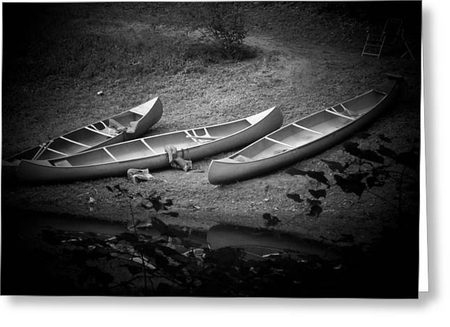 Canoe Photographs Greeting Cards - Three Canoes Greeting Card by Michael L Kimble