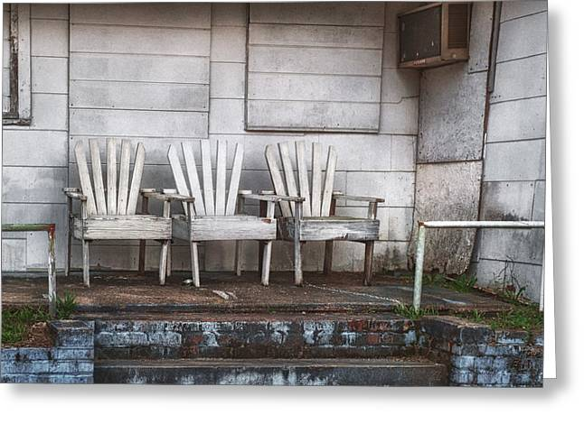 Bryant Greeting Cards - Three Chairs Beyond Front Street Greeting Card by Brenda Bryant