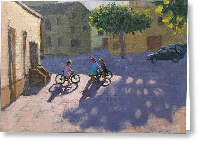 Town Square Greeting Cards - Three children with bicycles in Spain Greeting Card by Andrew Macara