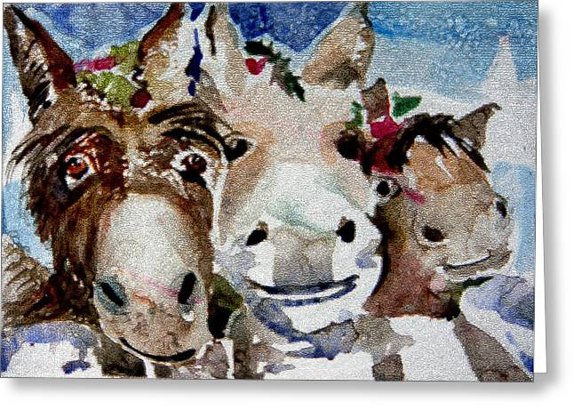 Donkey Digital Art Greeting Cards - Three Christmas Donkeys Greeting Card by Mindy Newman