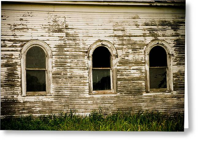 Rural Southern Oklahoma Greeting Cards - Three Church Windows Greeting Card by Toni Hopper