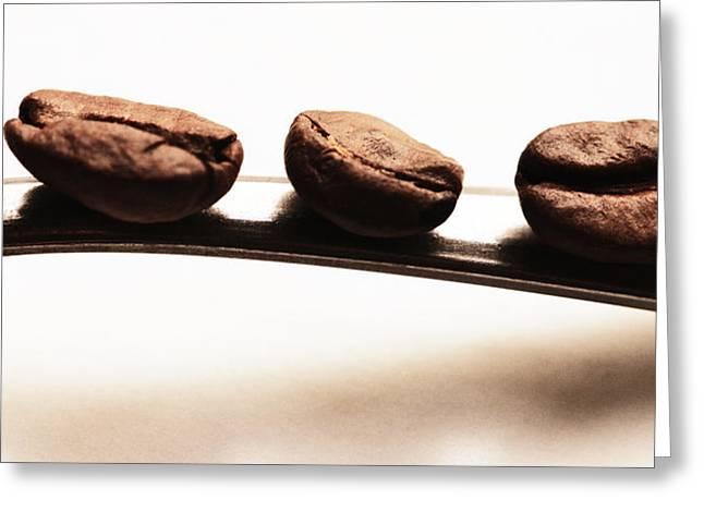 Kaffee Greeting Cards - Three coffee beans Greeting Card by Falko Follert
