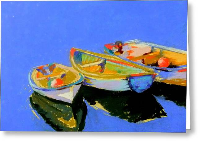Bright Pastels Greeting Cards - Three Colourful Boats Greeting Card by Sue Gardner