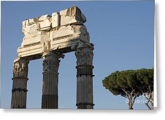 Lintel Greeting Cards - Three columns and architrave Temple of Castor and Pollux Forum Romanum Rome Greeting Card by Bernard Jaubert