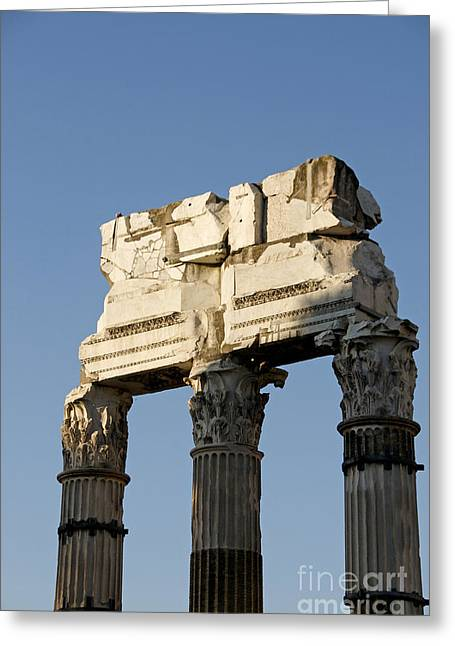 Three Columns And Architrave Temple Of Castor And Pollux Forum Romanum Rome Italy. Greeting Card by Bernard Jaubert