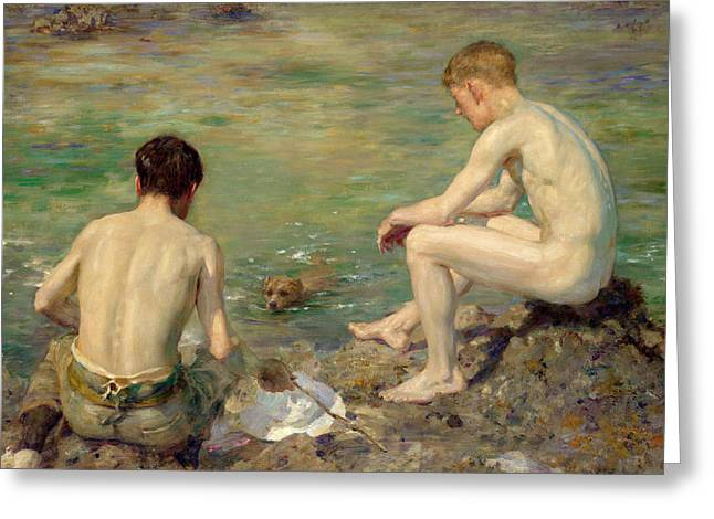 Lake Paintings Greeting Cards - Three Companions Greeting Card by Henry Scott Tuke