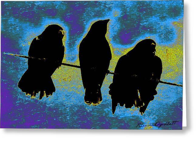 Yomamabird Rhonda Greeting Cards - Three Crows Greeting Card by YoMamaBird Rhonda