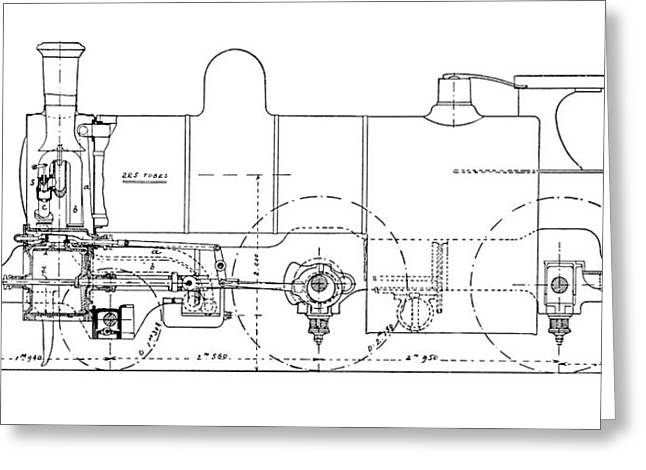 Technical Photographs Greeting Cards - Three-cylinder Compound Steam Locomotive Greeting Card by Mark Sykes