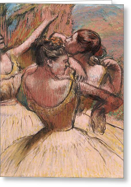 Ballerinas Pastels Greeting Cards - Three Dancers Greeting Card by Edgar Degas