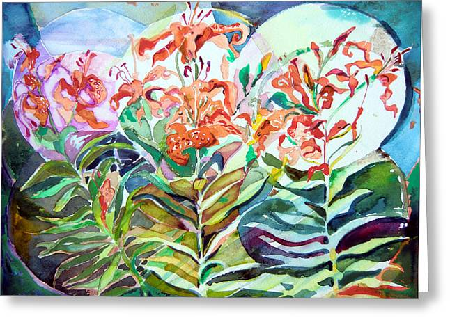 Spring Bulbs Drawings Greeting Cards - Three Day Lilies Greeting Card by Mindy Newman