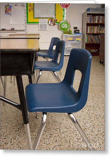 Public Schools Greeting Cards - Three Desks in a Classroom Greeting Card by Will & Deni McIntyre