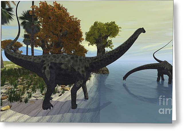 Saurischia Greeting Cards - Three Diplodocus Dinosaurs Visit An Greeting Card by Corey Ford