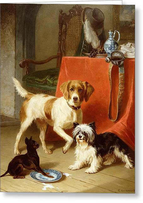 In Trouble Greeting Cards - Three dogs Greeting Card by Conradyn Cunaeus