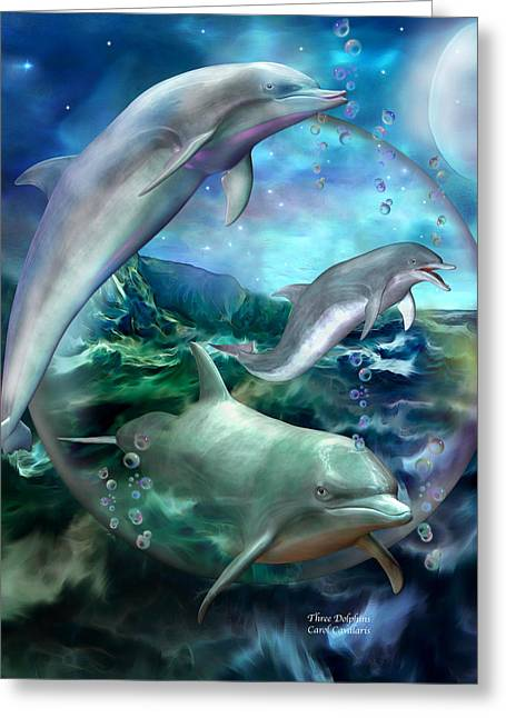 Dolphin Greeting Cards - Three Dolphins Greeting Card by Carol Cavalaris