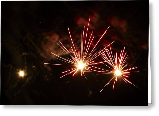 Fuegos Artificiales Greeting Cards - Three explosions Greeting Card by Agusti Pardo Rossello