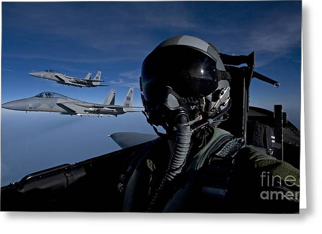 Cooperation Greeting Cards - Three F-15 Eagles Fly High Greeting Card by HIGH-G Productions