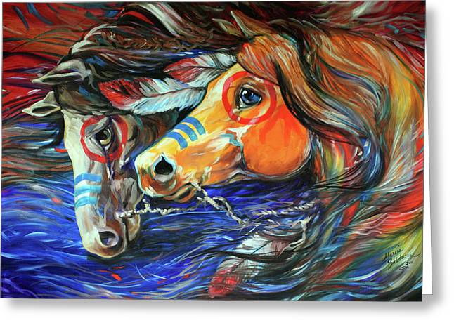 Original Oil Paintings Greeting Cards - Three Feathers Indian War Ponies Greeting Card by Marcia Baldwin