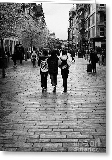 Chinese Woman Greeting Cards - Three Female Asian Tourists Walking Along Rain Soaked Buchanan Street Shopping Area Glasgow Scotland Greeting Card by Joe Fox