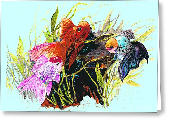 Highly Colored Fish Greeting Cards - Three Fish - Chinese Watercolor Painting Greeting Card by Merton Allen