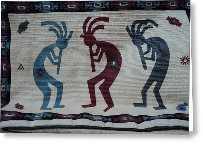 Three Flute Players Kokopelli Style Greeting Card by Anne-Elizabeth Whiteway