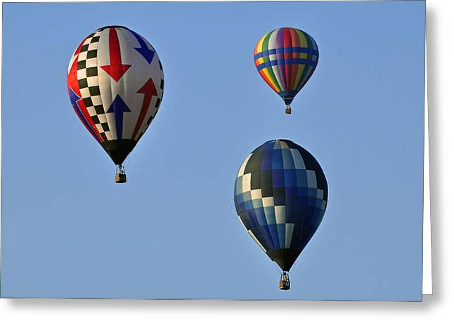 Three Hot Air Balloons Greeting Cards - Three Flying Greeting Card by Helen Haw