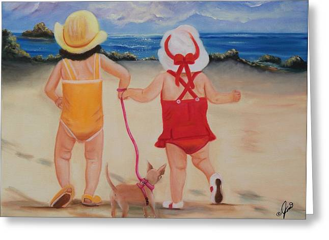 Kid Greeting Cards - Three for the Beach Greeting Card by Joni McPherson