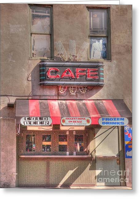 Beale Street Greeting Cards - Three Forks Cafe Greeting Card by David Bearden