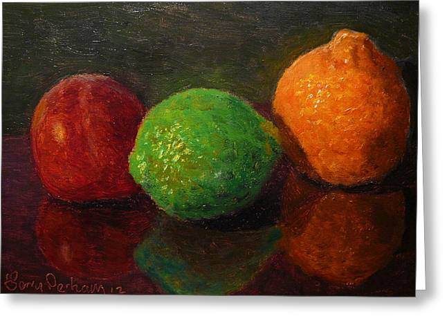 Terry Perham Paintings Greeting Cards - Three Fruit Greeting Card by Terry Perham