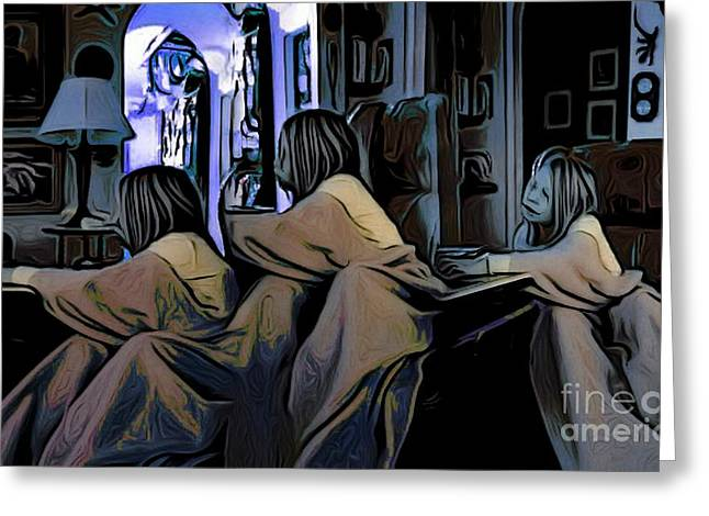 Triplets Greeting Cards - Girl OverTime Greeting Card by Ron Bissett