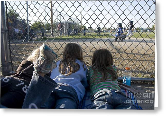 Perfect Game Greeting Cards - Three girls watching ball game behind home plate Greeting Card by Christopher Purcell