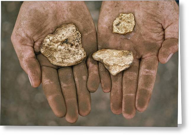 Gold Industry And Production Greeting Cards - Three gold nuggets in a Greeting Card by National Geographic