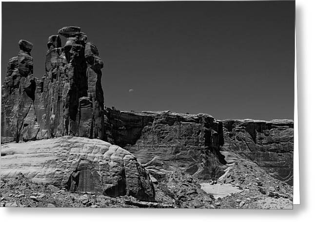 Gossip Greeting Cards - Three Gossips Moon Setting Arches National Park Greeting Card by Scott McGuire
