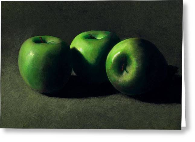 Beverage Greeting Cards - Three Green Apples Greeting Card by Frank Wilson