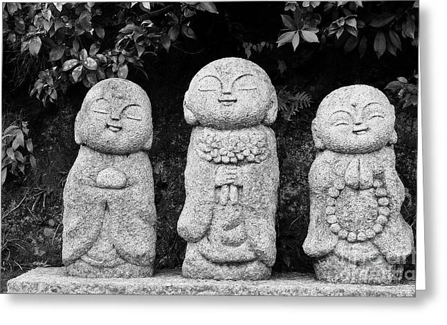 Monks Greeting Cards - Three Happy Buddhas Greeting Card by Dean Harte
