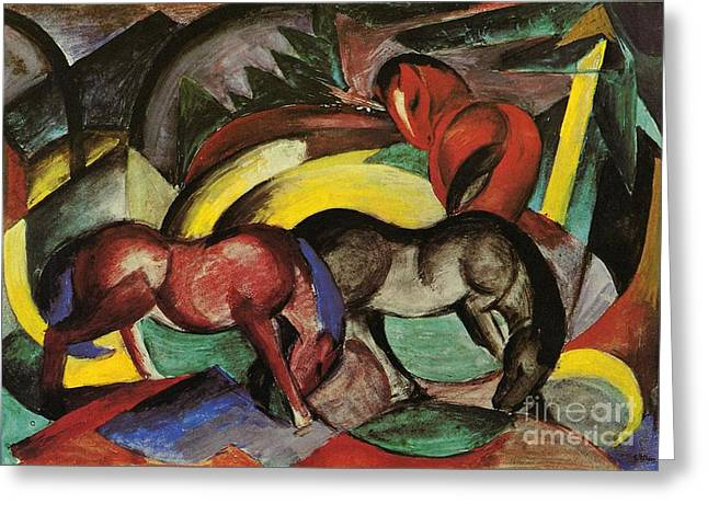 Expressionist Horse Greeting Cards - Three Horses Greeting Card by Franz Marc