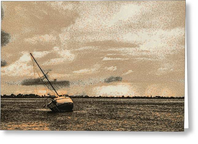 Tampa Greeting Cards - Three Hour Tour Pastel Greeting Card by Nicholas Evans