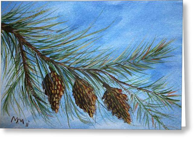 Pine Needles Paintings Greeting Cards - Three in a Row Greeting Card by Misty Mueller