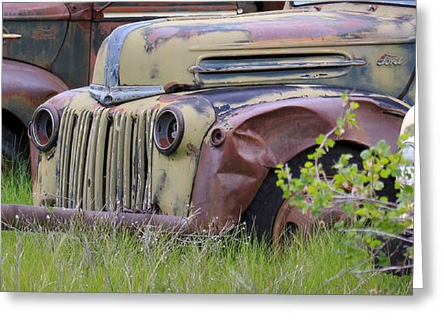 Rusted Cars Greeting Cards - Three in a Row Greeting Card by Steve McKinzie