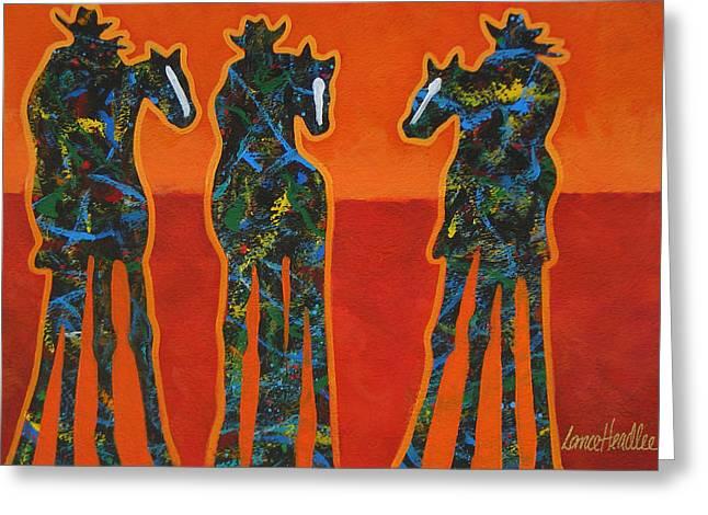 Three In Orange Greeting Card by Lance Headlee