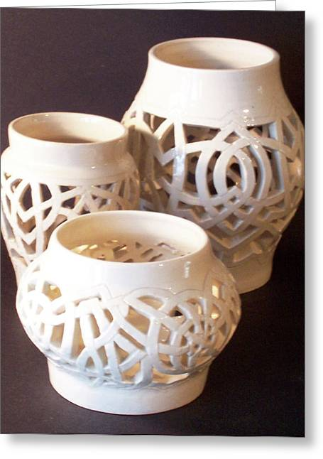 White Ceramics Greeting Cards - Three Interlaced Design Wheel Thrown Pots Greeting Card by Carolyn Coffey Wallace