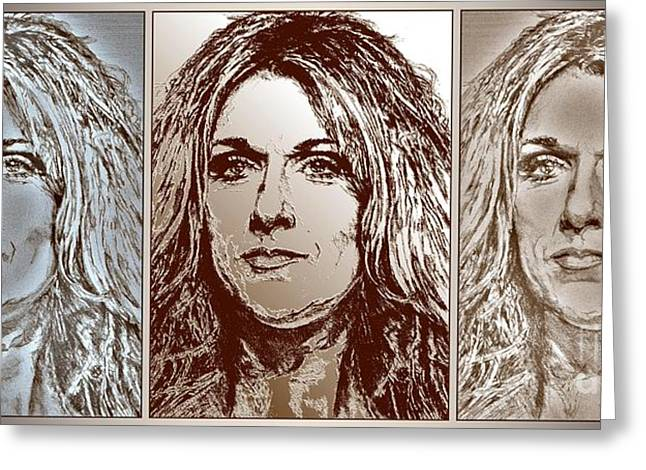 Award Mixed Media Greeting Cards - Three Interpretations of Celine Dion Greeting Card by J McCombie