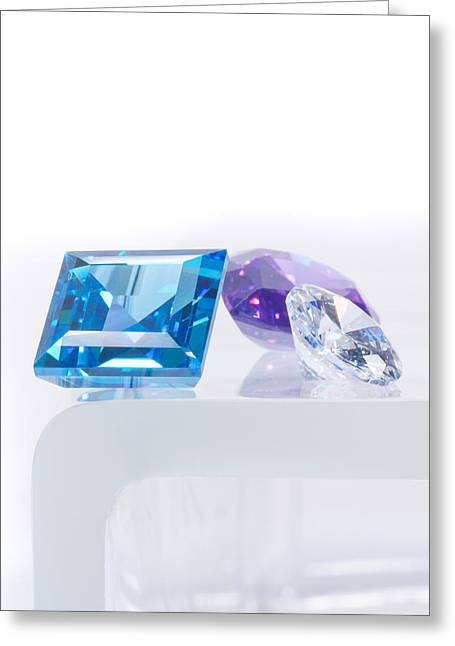 Sapphire Jewelry Greeting Cards - Three Jewel Greeting Card by Atiketta Sangasaeng