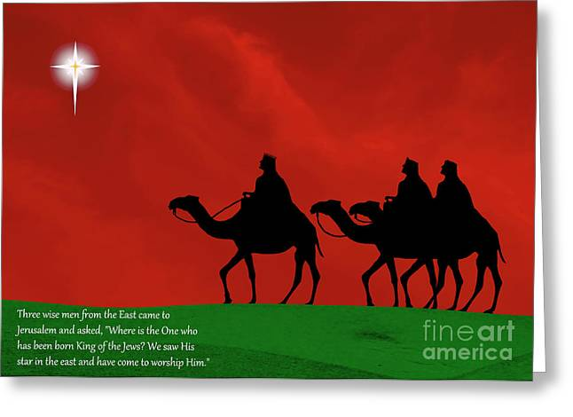 Star Of Bethlehem Greeting Cards - Three Kings travel by the Star of Bethlehem - Christmas Motif with Caption Greeting Card by Gary Avey