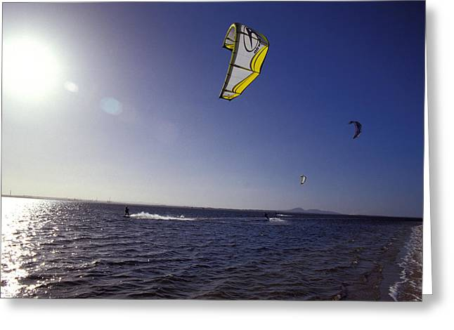 Kite Surfing Greeting Cards - Three Kite Surfers On A Windy Summer Greeting Card by Jason Edwards