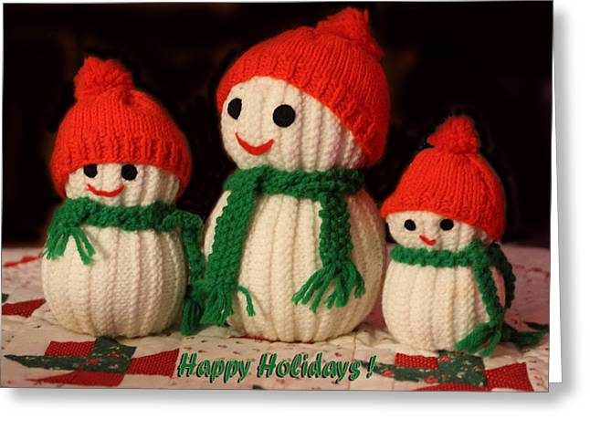 Hand-knitted Greeting Cards - Three Knit Christmas Snowmen Greeting Card by Linda Phelps